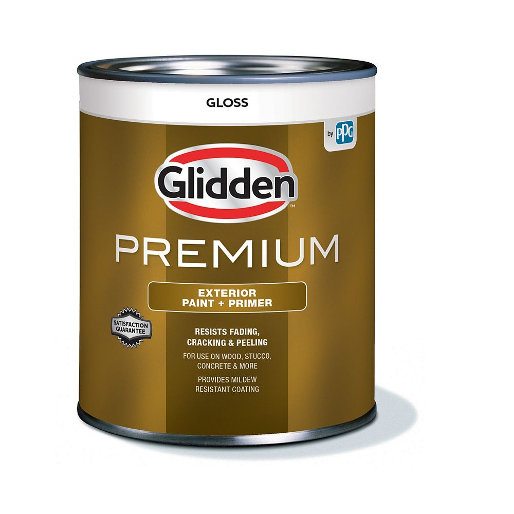 Glidden Premium Peinture et Apprêt d'extérieur brillant  - Blanc 925 mL