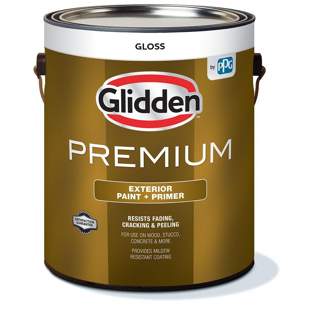 Glidden Premium Peinture et Apprêt d'extérieur brillant  - Blanc 3,7 L