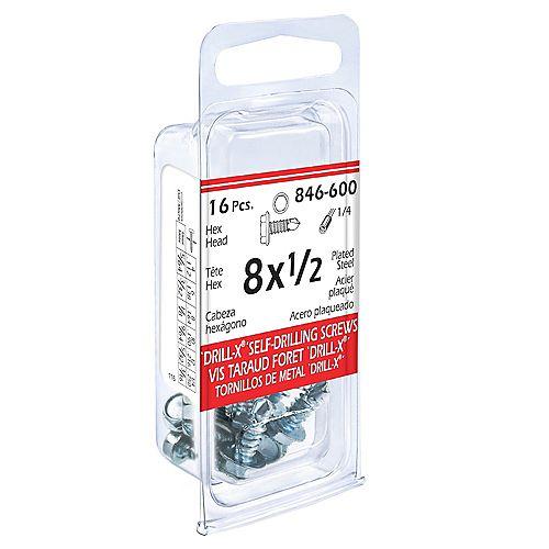 #8 x 1/2-inch DRILL-X Hex Washer Head Self-Drilling Tapping Screws - Zinc Plated (16 Pcs)