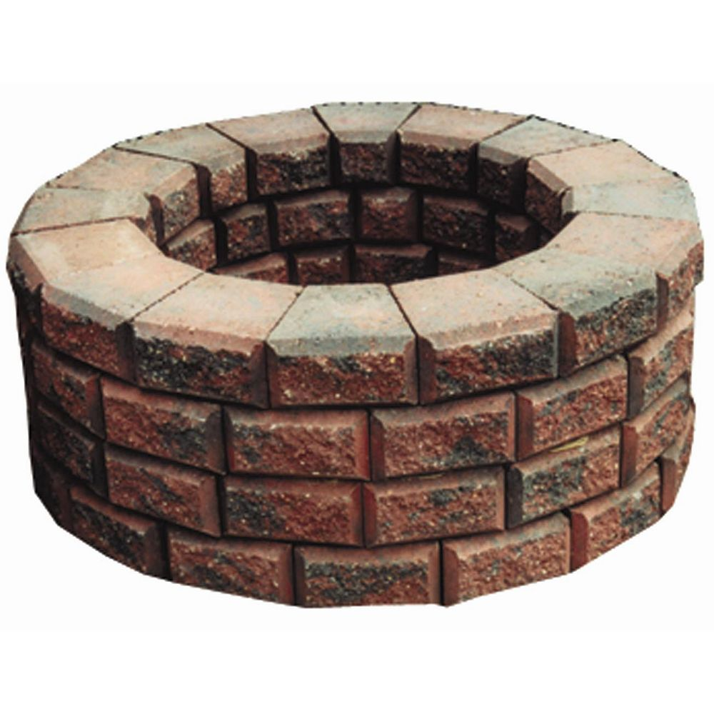 Cindercrete Easy Stack Firepit Kit in Red and Charcoal