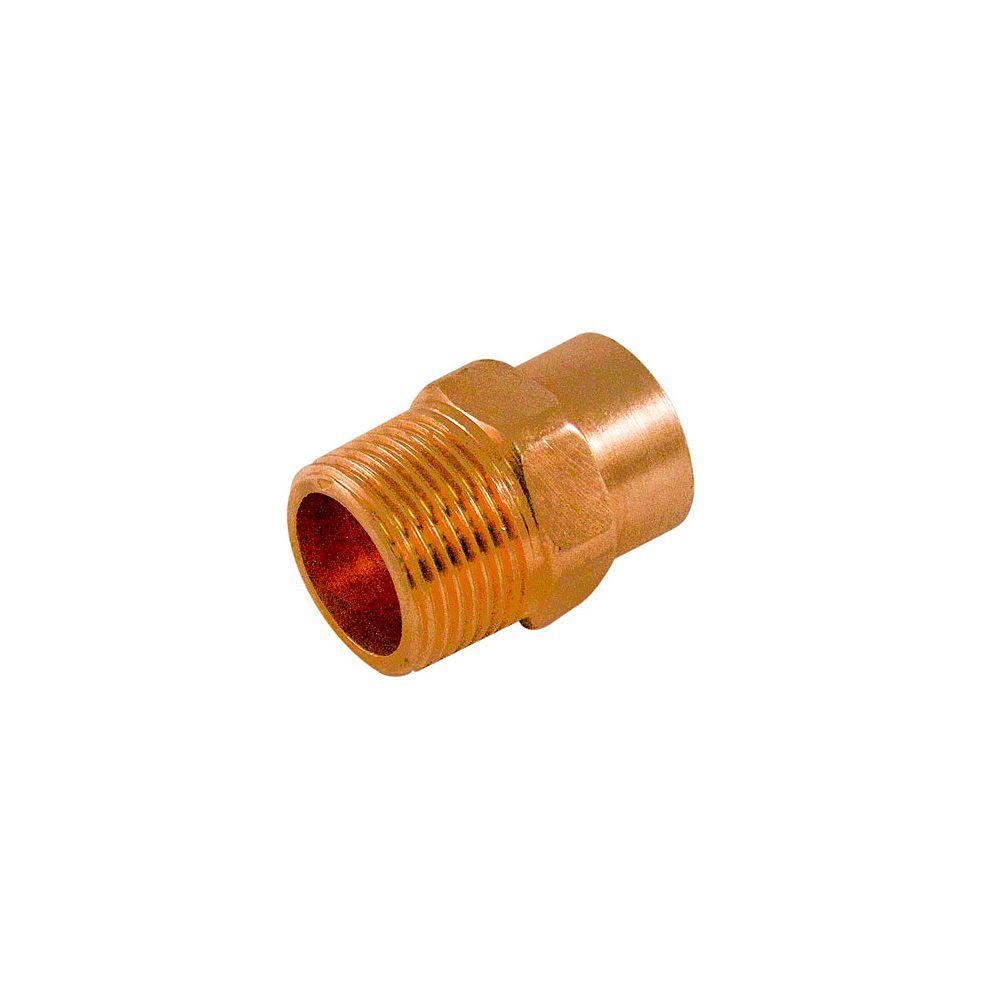 Aqua-Dynamic Fitting Copper Male Adapter 1/2 Inch x 3/4 Inch Copper To Male