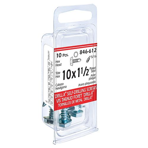 #10 x 1-1/2-inch DRILL-X Hex Washer Head Self-Drilling Tapping Screws - Zinc Plated (10 Pcs)