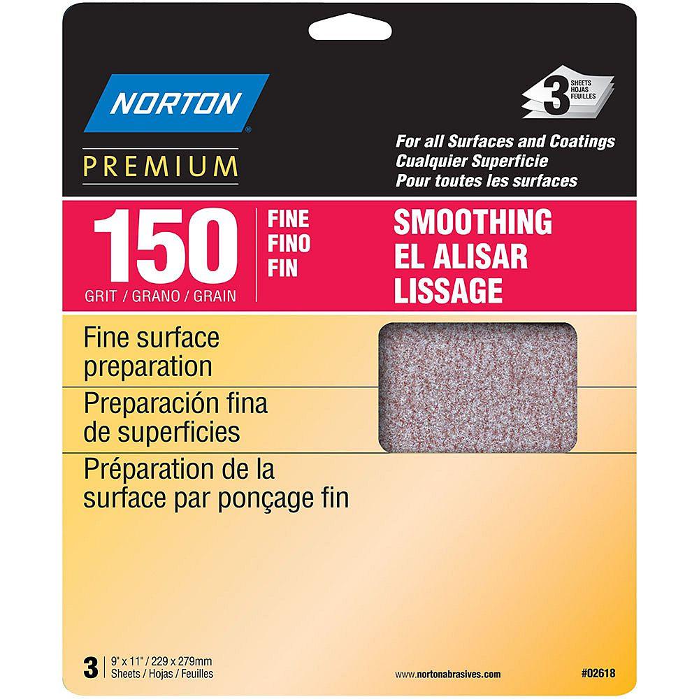 Norton Feuilles de ponçagePremium  9 piX11 pi Grain fin 150 Emb de 3