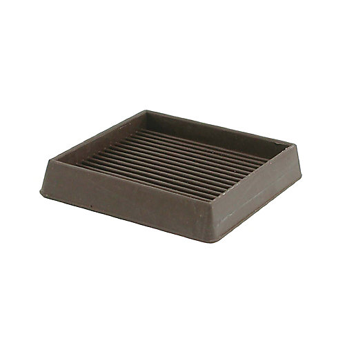 3-inch Brown Square Rubber Furniture Cups (2-Pack)