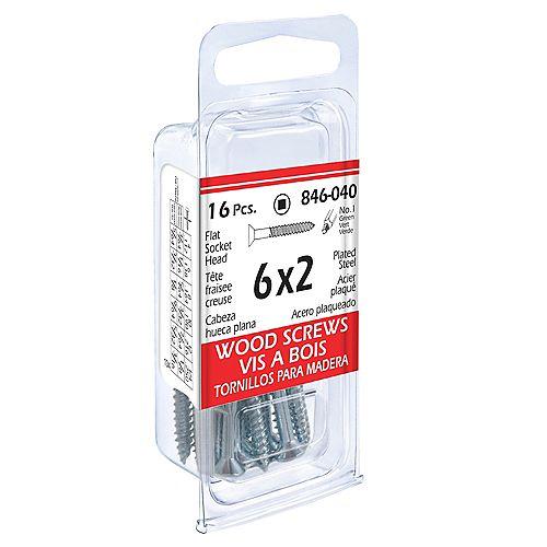 #6 x 2-inch Flat Head Square Drive Wood Screws - Zinc Plated - 16pcs