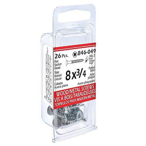 #8 x 3/4-inch Flat Head Square Drive Wood Screws - Zinc Plated - 26pcs