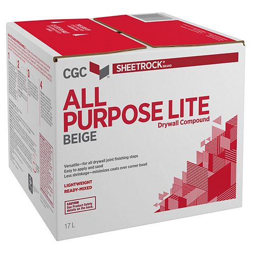 CGC Sheetrock All Purpose-Lite Drywall Compound, Beige, Ready-Mixed, 17 L Carton