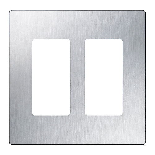 Claro 2-Gang wall plate, Stainless Steel