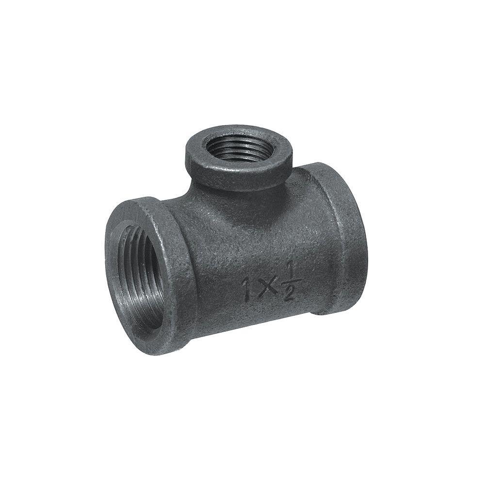 Aqua-Dynamic Raccord Fonte Noire Té Réducteur 1 Pouce x 1/2 Pouce