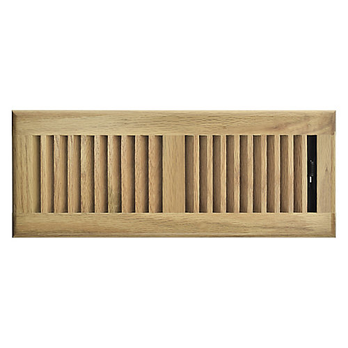4 inch x 10 inch Floor Register - Light Oak