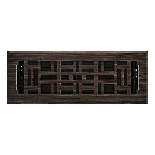 3 inch x 10 inch Arts & Craft Floor Register - Oil Rubbed Bronze