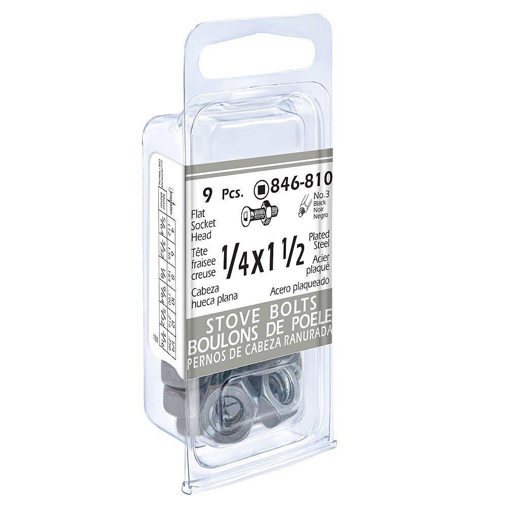 Paulin 1/4 x 1-1/2-inch Flat Head Square Drive Stove Bolt with Nut - Zinc Plated- 9 pcs