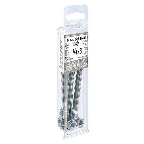 1/4-inch x 3-inch Flat Square Head/Slot Stove Bolt With Nut - Zinc Plated (5 Pcs)