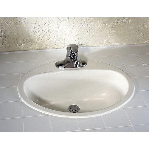 Lavabo ovale de 4 pouces pour salle de bains en acier émaillé