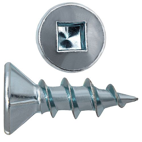 #6 x 1/2-inch Flat Head Square Drive Zinc Plated Steel Particle Board Screws - 100pcs
