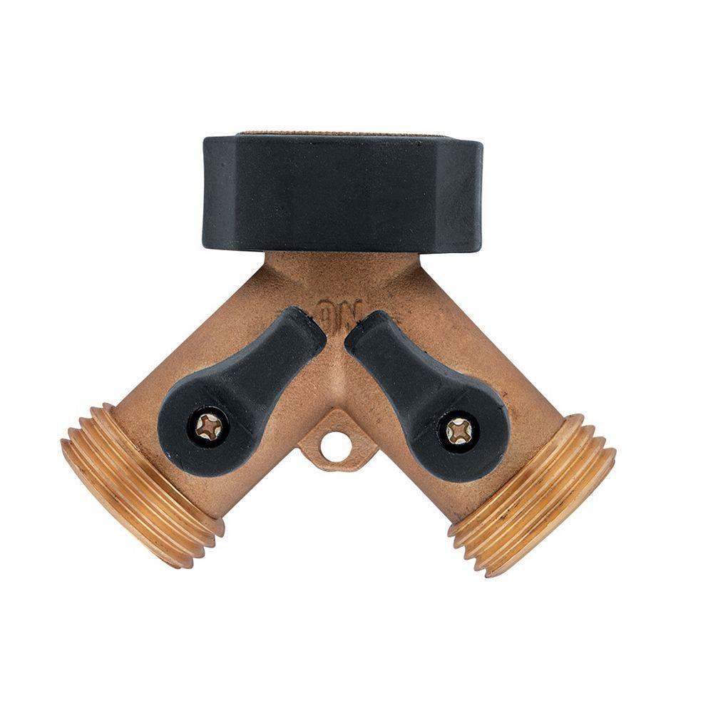 Orbit Collecteur Y pour boyau, en laiton, avec robinet de contrôle