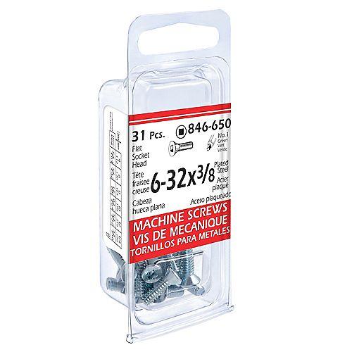 #6-32 x 3/8-inch Flat Round Head Square/Slot Drive Machine Screw - Zinc Plated (31 Pcs)