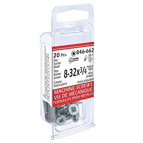 #8-32 x 3/4-inch Flat Head Square Drive Machine Scew - Zinc plated - 20pcs