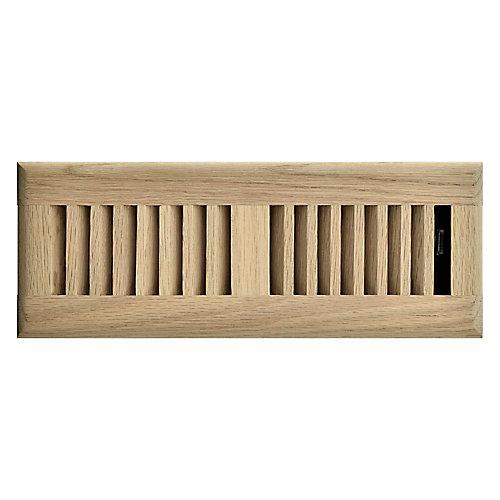 3 inch x 10 inch Floor Register - Unfinished Oak