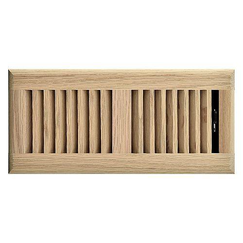 4 inch x 10 inch Floor Register - Unfinished Oak