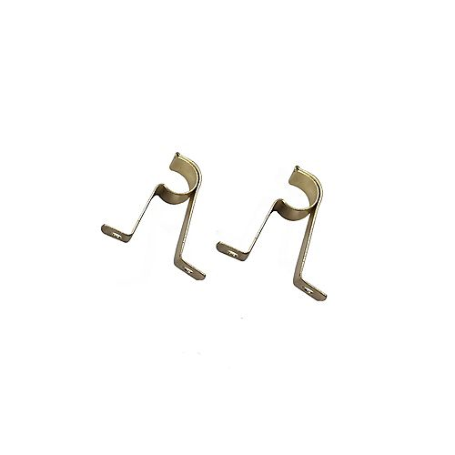 2-inch Café Curtain Rod Bracket in Brass (2-Pack)