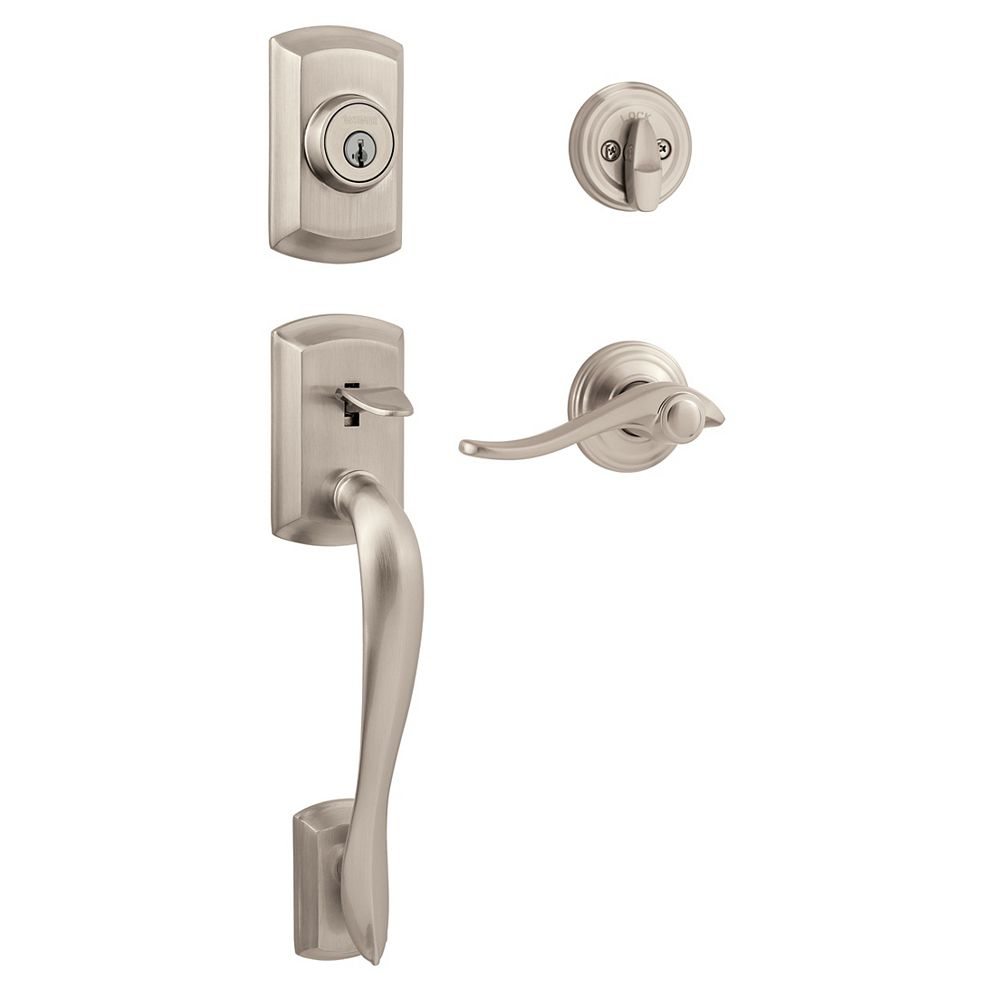 Weiser Avalon Satin Nickel Handle Set With Avalon Interior Lever The Home Depot Canada