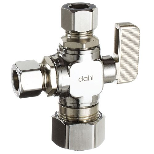 Dahl 5/8 x 3/8 x 3/8 Od Comp, Straight, Plated, Dual Outlet