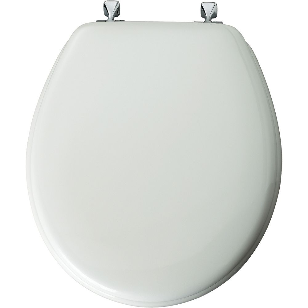 Bemis Round Wood Toilet Seat with Chrome Hinge in White