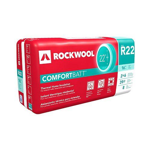 ROCKWOOL COMFORTBATT R22 - montants de bois 2 x 6 à 16 po d'entraxe