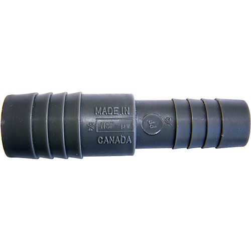 Poly Reducing Coupling - 3/4 Inch Insert X 1/2 Inch Reducing Insert