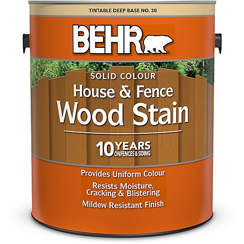 Solid Colour House & Fence Wood Stain - Deep Base No. 30, 3.79 L