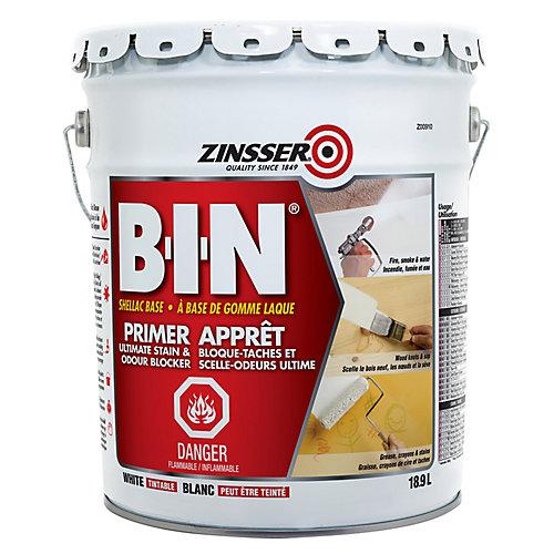 B-I-N Apprêt à base de gomme laque pour les teintures et les odeurs ultimes, blanc teintable 18.9L