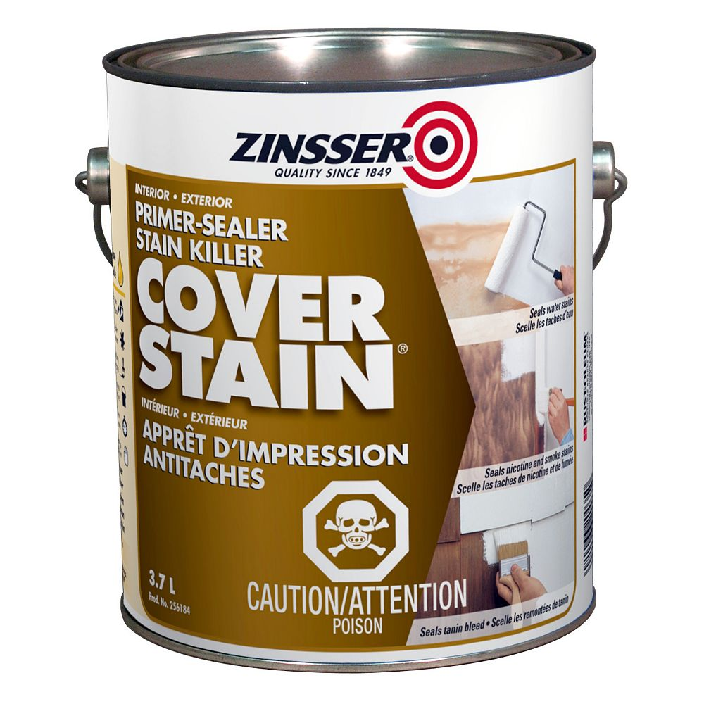 Zinsser Cover Stain Interior Exterior Primer Sealer & Stain Killer, 3.7L