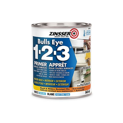 Bulls Eye 1-2-3 Water-Base Primer for All Surfaces in Tintable White, 946 ml