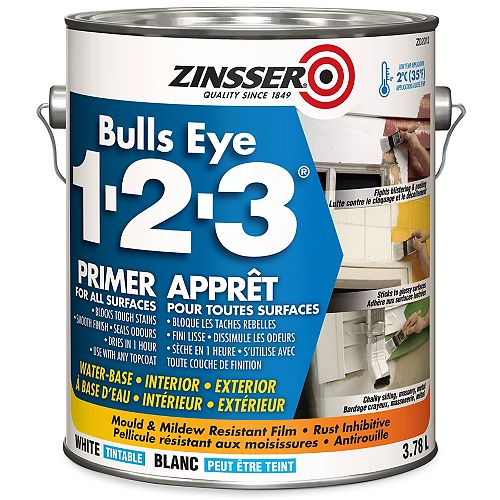Bulls Eye 1-2-3 Water-Base Primer for All Surfaces in Tintable White, 3.78L