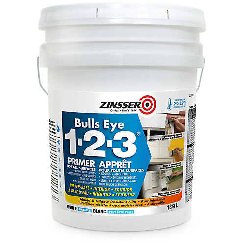 Bulls Eye 1-2-3 Water Base Primer for All Surfaces in Tintable White, 18.9L