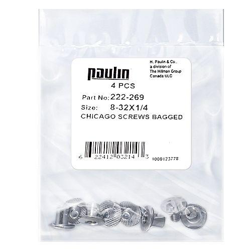 Papc 8-32x1/4 Chicago Screws 4Pcs