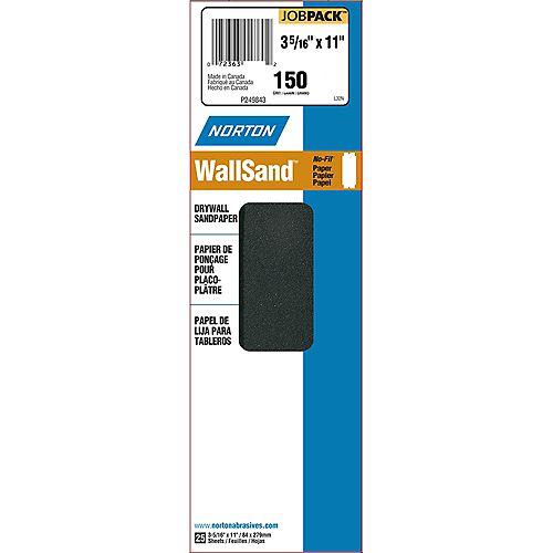 Papier abrasif pour cloison sèche Durite, grain 150, grain 3-5/16 po X11 po (paquet de 25)