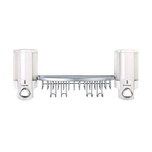 Aviva Distributeur II, blanc, avec panier pour douche chrome