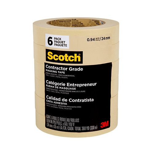 Contractor Grade Masking Tape, 2020-24EP6, 0.94 in x 60.1 yd (24 mm x 55 m), 6 rolls/pack