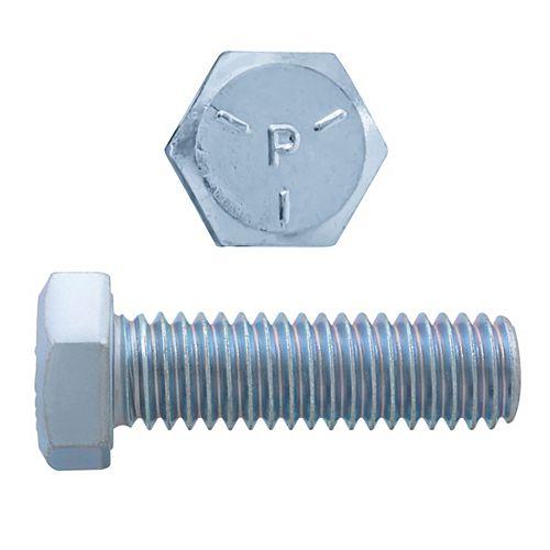 Vis à tête hexagonale de 3/8 po x 1-1/4 po - zinguée - qualité 5 - UNC