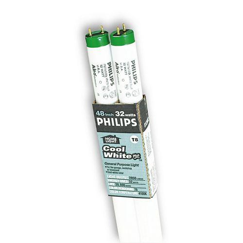 Philips Ampoule fluorescente T8, 48 po, 32 W, 4 100 K, blanc froid, ens. de 2