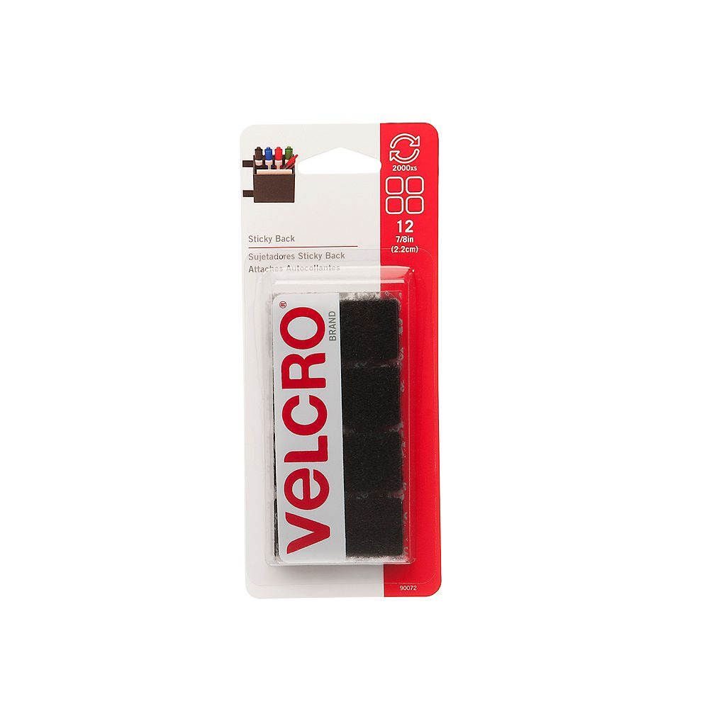 VELCRO Carrés collants de 7/8 po (paquet de 12)