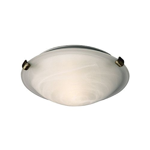 2-Light Pewter Clip Flushmount Ceiling Light with Marbled Glass Shade