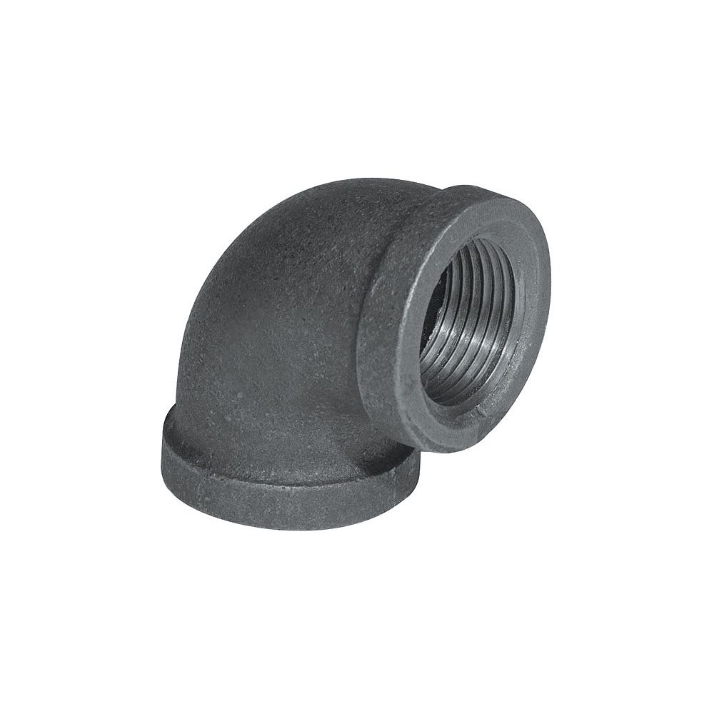 STZ Raccord Fonte Noire Coude 90 Degrés 1/4 Pouce