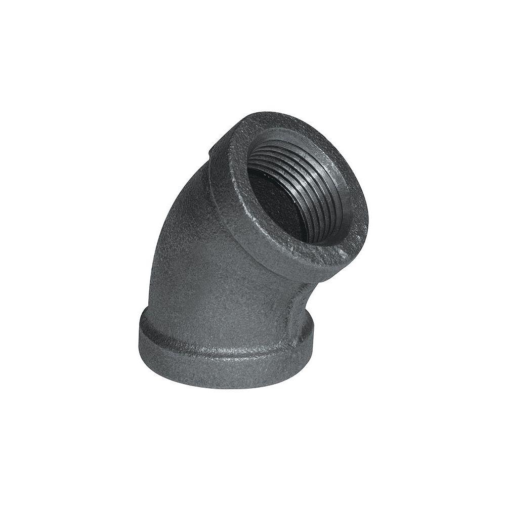STZ Raccord Fonte Noire Coude 45 Degrés 3/4 Pouce