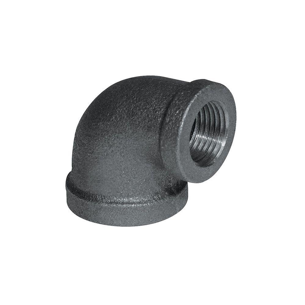 Aqua-Dynamic Raccord Fonte Noire Coude Réducteur 90 Degrés 3/4 Pouce x 1/2 Pouce