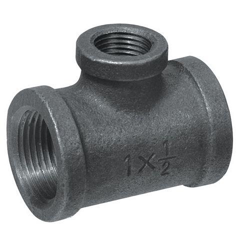 Fitting Black Iron Reducing Tee 3/4 Inch x 1/2 Inch