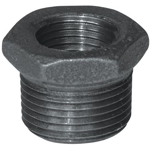 Aqua-Dynamic Fitting Black Iron Hex Bushing 1/4 Inch x 1/8 Inch