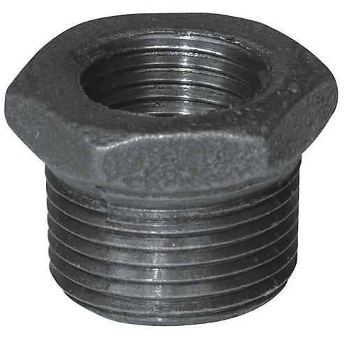 Raccord Fonte Noire Douille Hexagonale 1/2 Pouce x 1/4 Pouce